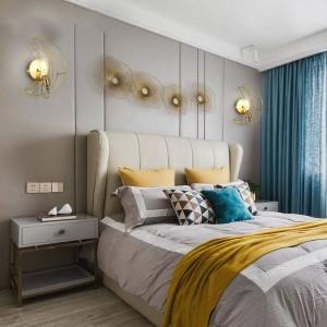 Nórdico moderno Personalidad creativa Lámparas de pared luna de latón real Habitación de vestíbulo para niños luz de pared de cobre completa E27 90-260V