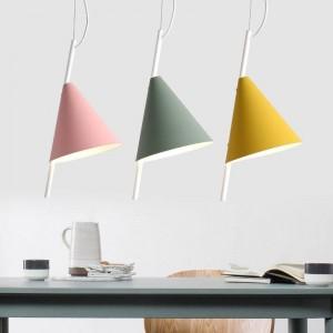 Nordic moderno minimalista foyer luz hierro arte creativo personalidad Macarons restaurante amarillo rosa verde iluminación LED