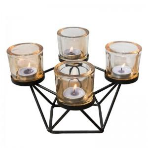 Estilo nórdico Portavelas Geométrica Hierro Arte Vidrio Candelabro Aromaterapia Velas Base Luz de las velas Cena Noche Luz Decoración