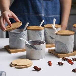 Estilo nórdico Marbled Ceramic Seasoning Jar Caja de condimento de tres piezas Salero de coctelería Almacenamiento de condimento Conjuntos de especias a prueba de humedad