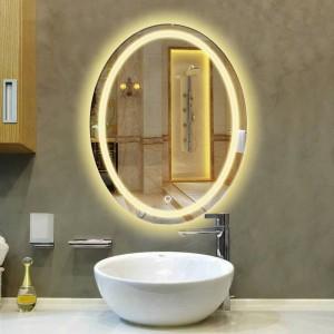 Baño ovalado lámpara LED espejo colgante de pared baño con luz maquillaje espejo moderno interruptor interruptor baño espejo mx12151130