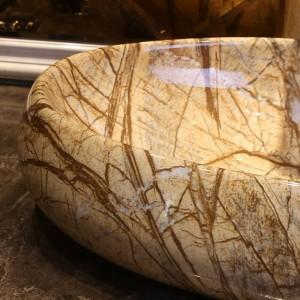 Lavabo de porcelana hecho a mano de estilo ovalado Lavabo de cerámica Lavabo del baño Lavabo del baño Lavabo de porcelana de imitación de mármol