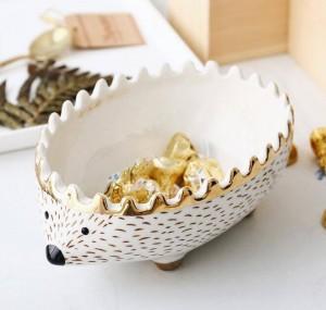 Paquete de 4 unids Hedgehog bowl bandeja de bocadillos tazón de fuente de almacenamiento de los niños de almacenamiento organizador caja de cerámica tazón de dibujos animados