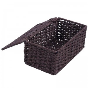 Cuerda de papel + tapa de caja de marco de hierro, marrón
