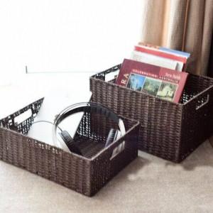 Cesta de almacenamiento de pasta y ratán. Caja de almacenamiento de estilo japonés.