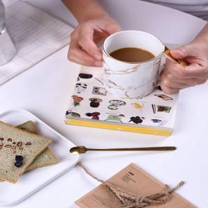 Taza de la personalidad tazas de café Desayuno taza de leche y Cuchara de hueso Taza de agua Fiesta de té de porcelana británica Hora de la tarde Casa