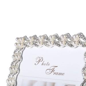 Marco de imagen hecho de diamante sintético plateado y perlas y vidrio para exhibición de sobremesa
