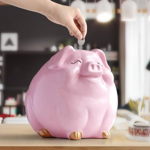 Caja de dinero de cerdo para niños caja de estatua de animal de resina caja de banco de monedas diversión creativa cajas de dinero de cerdo para niños lindas huchas