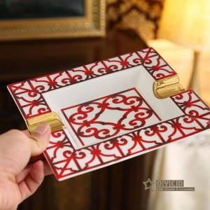 Cenicero de porcelana con hueso Características rojas esquema de diseño en forma rectangular de oro suministros de decoración del hogar regalos