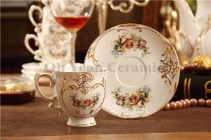 Conjunto de café de porcelana diseño floral en forma de hueso en relieve en oro 15pcs conjunto de taza de café cafetera de café jarra de café taza conjunto de platillo