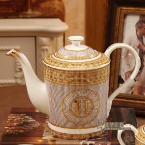 """Juego de café de porcelana hueso """"H"""" marca diseño de mosaico contorno en oro 15 piezas juego de té europeo cafetera olla jarra de café juego de platillos"""