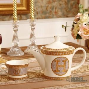 """Juego de café de porcelana hueso """"H"""" marca diseño de mosaico contorno en oro 8 piezas juego de té ceramin cafetera cafetera jarra de té bandeja de té"""