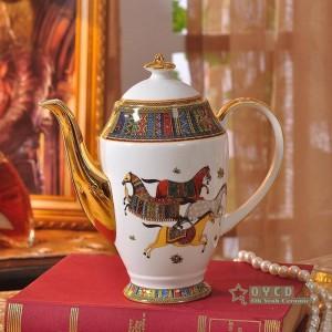 Conjunto de café de porcelana hueso diseño de la cabeza de la mujer color rojo contorno en una taza de café de oro 15pcs taza de café jarra de café