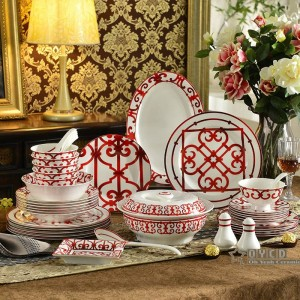 Juego de vajilla de porcelana de hueso Características de diseño rojo 58pcs juegos de vajilla set de cena 43pcs set de café 15pcs