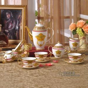 Juego de vajilla de porcelana, esqueleto de muebles para el hogar de moda de hueso en oro 58 piezas de vajilla, juego de cena, juego de café, regalo