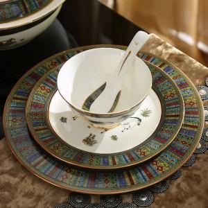Juego de vajilla de porcelana esquema de diseño de caballos de dios de hueso en oro 58 piezas juegos de vajilla juego de cena juegos de café regalo de boda