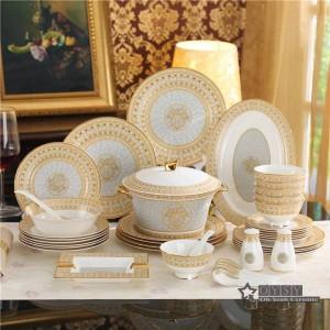 Juego de vajilla de porcelana con diseño de mosaico óseo en oro 58 piezas juegos de vajilla juegos de cena juegos de café regalos