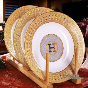 """Juego de vajilla de porcelana hueso """"H"""" marca diseño de mosaico contorno en oro 58pcs juegos de vajilla set de cena regalos de inauguración"""