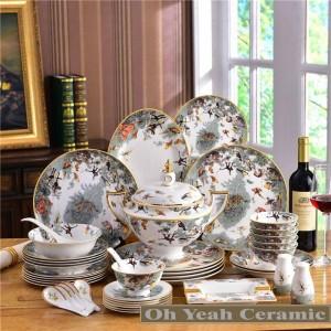 Juego de vajilla de porcelana, zoología ósea, diseño animal, contorno en relieve en oro, 58 piezas, vajilla, juegos de café, boda