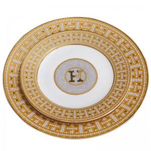 """Placas planas de porcelana hueso """"H"""" marca diseño de mosaico contorno en forma redonda de oro 8 """"10"""" plato plano plato de hueso placa grande"""