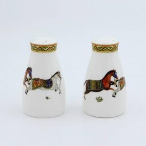 Saleros y pimenteros de porcelana dios caballos desi hueso en botella de sal botella de pimienta hueso sal pimienta
