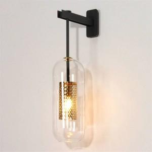 Lámpara de pared moderna para iluminación interior de poste de metal dorado / negro cristal aplique de pared creativo para dormitorio cabecera pasillo pasillo escalera