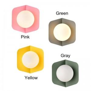 Post macarrón moderno lámpara de pared encantadora verde amarillo simple creativo led decoración de la cabecera luz sala de estar pasillo lámpara E27