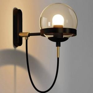 Lámpara de pared nórdica posmoderna Hotel Restaurant Lámpara de pared vintage Lámpara de bola de cristal ámbar Pantalla de iluminación industrial retro