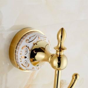 Accesorios de baño con gancho práctico Diseñador de cromo europeo / gancho para bata dorada, gancho para ropa, gancho para ropa Baño para baño 9086K