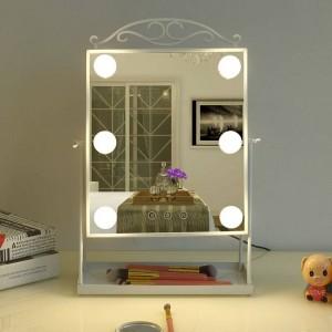 Espejo de maquillaje LED de estilo princesa con bombilla, vendaje de escritorio para el hogar, decoración de mesa de espejo de luz de relleno de belleza mx12281553