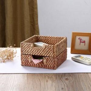 Bandeja de almacenamiento de ratán Cesta de almacenamiento de acabado de escritorio Caja de pañuelos Cesta de almacenamiento de almacenamiento remoto Caja de servilletas