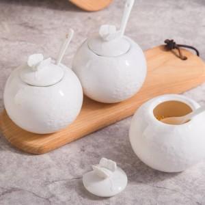 Alivio Bamboo Tanque de sal Jarra de azúcar con cuchara de cubierta Jarra de condimento de cerámica de pimienta Juego de utensilios de cocina Especias y pimenteros