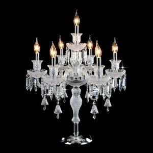 Luces de mesa de decoración de boda de moda romántica para dormitorio, sala de estar de noche, lámpara de mesa de cristal de lujo de alta calidad E14