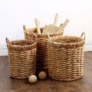 Mango redondo de saltamontes cubo de almacenamiento cuerda de hierba toalla trenzada ropa escombros de almacenamiento acabado cesto de basura