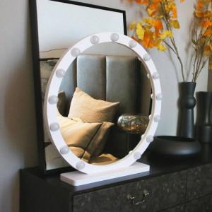 Espejo redondo grande para maquillaje con luz LED profesional, escritorio, espejo de vanidad, HD, relleno en vivo, luz, estilo princesa, espejo mx12291632
