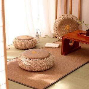 Puf redondo Taburete otomano Asiento de ratán Cojín de piso Yoga Meditación Cojín Paja Rústico Tatami Puf de punto moderno Muebles Puf