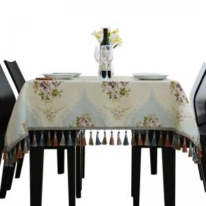 Royal Luxury Bordado Princesa Manteles Manteles de boda Jacquard Toalha De Mesa Borla Modelo Habitación Cubiertas de mesa de comedor