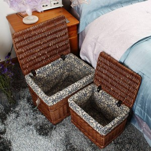 Estilo rural hecho a mano de mimbre de almacenamiento Cesta del tanque Caja de almacenamiento Papelera de lavandería escombros de almacenamiento libros juguetes cesta de almacenamiento latas cubiertas