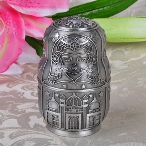 Ruso Clásico Matryoshka Palillo Automático Holder Box Metal Art Craft Vintage Decoración Del Hogar Regalo Creativo Adornos