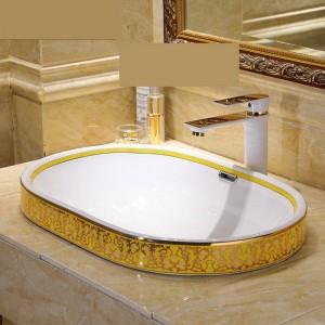 Semi Embedded Europe Vintage Style Lavabo de arte Lavabo de encimera de cerámica Lavabos de baño Lavabo de lavabo ovalado