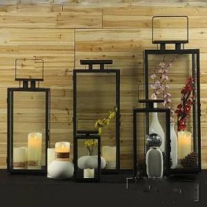 Candelabro de cristal de hierro forjado retro moderno europeo simple lámpara de viento a prueba de viento al aire libre lámpara portátil accesorios de boda lámpara de caballo