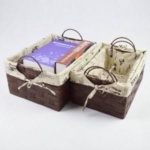 Caja de almacenamiento de ratán simple Cesta de estante de hierba hecha a mano Trompeta creativa Trompeta de escritorio ropa interior de escritorio caja de aperitivos