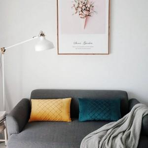 Funda de cojín de terciopelo amigable con la piel Enrejado de gofres Funda de almohadas decorativas Fundas de coche Almofadas Cojines Sofá Habitación modelo Essential