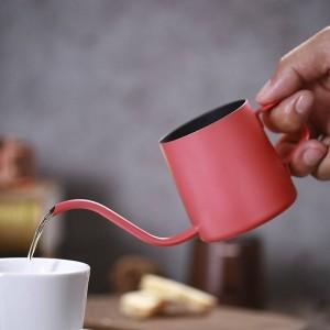 Pequeño Acero Inoxidable Café Moka Pot Maker Largo Tipo de Goteo Hervidor Leche Espuma Jarra Mini TeaPot Cafetera Expreso 250 ml 350 ml