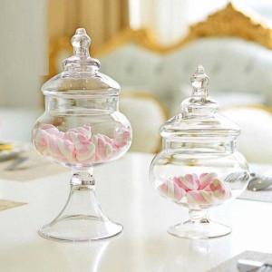Pequeño recipiente de cristal transparente Dulce sala de estar Decoración Tanque de almacenamiento Diseño de la tienda de bodas Vidrio Latas azucarero