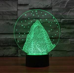 Luz de noche 3D en forma de montaña de nieve, lámpara de mesa led de acrílico 3D colorida Lámpara decorativa de vacaciones para el regalo de Navidad para niños