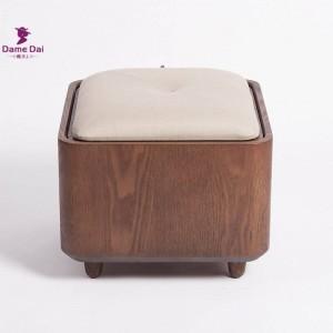 Bastidor de madera maciza Reposapiés Taburete Otomana Almacenamiento Puf multifuncional Reposapiés de madera Almohadilla de asiento suave Cubo Otomana Caja de almacenamiento