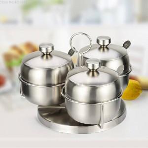 Combinación de tarros de especias Rotación de 304 especias y pimenteros de acero inoxidable Juego de tarros de sal Herramientas de cocina Caja de almacenamiento de condimentos