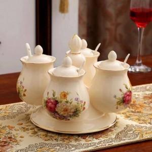 Combinación de tarros de especias Especias de cerámica giratoria y pimenteros Set de tarros de sal Herramientas de cocina Caja de almacenamiento para condimentos