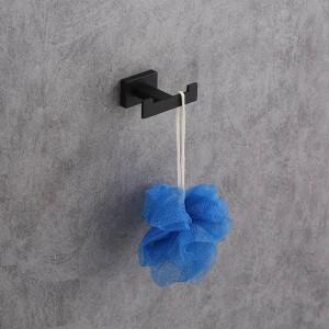 Gancho para bata simple de acero inoxidable Gancho para toallas montado en la pared Gancho para ropa pintado negro Herrajes para baño